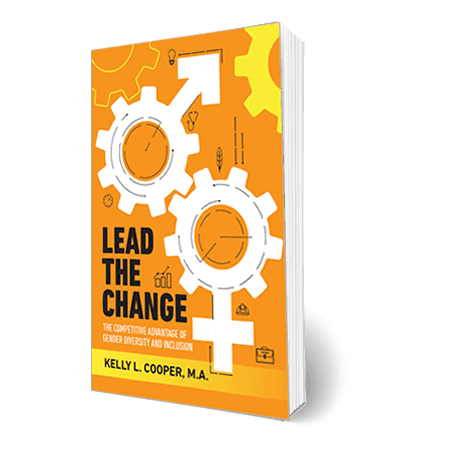 Lead the Change book cover - shows two gears - one with male symbol with the arrow and the other female symbol with the cross/plus